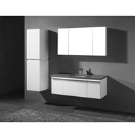 "Madeli Venasca 48"" Bathroom Vanity for Quartzstone Top - Glossy White B990-24-002-GW, 2X-UC990-12-007-GW-QUARTZ"