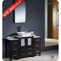 "Fresca Torino 48"" Espresso Modern Bathroom Vanity with 2 Side Cabinets & Vessel Sink FVN62-122412ES-VSL"