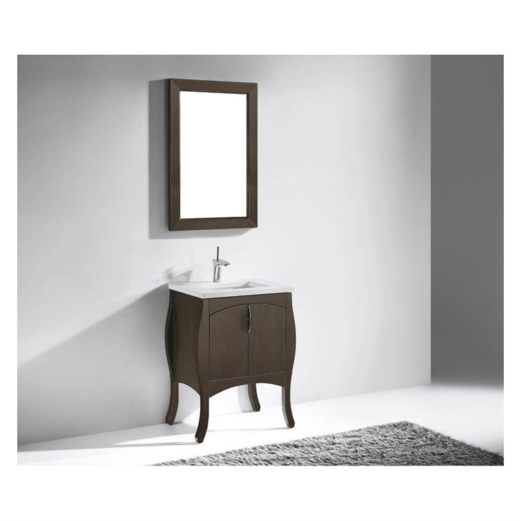 "Madeli Sorrento 27"" Bathroom Vanity for Quartzstone Top - Walnut B953-27-001-WA-QUARTZ"
