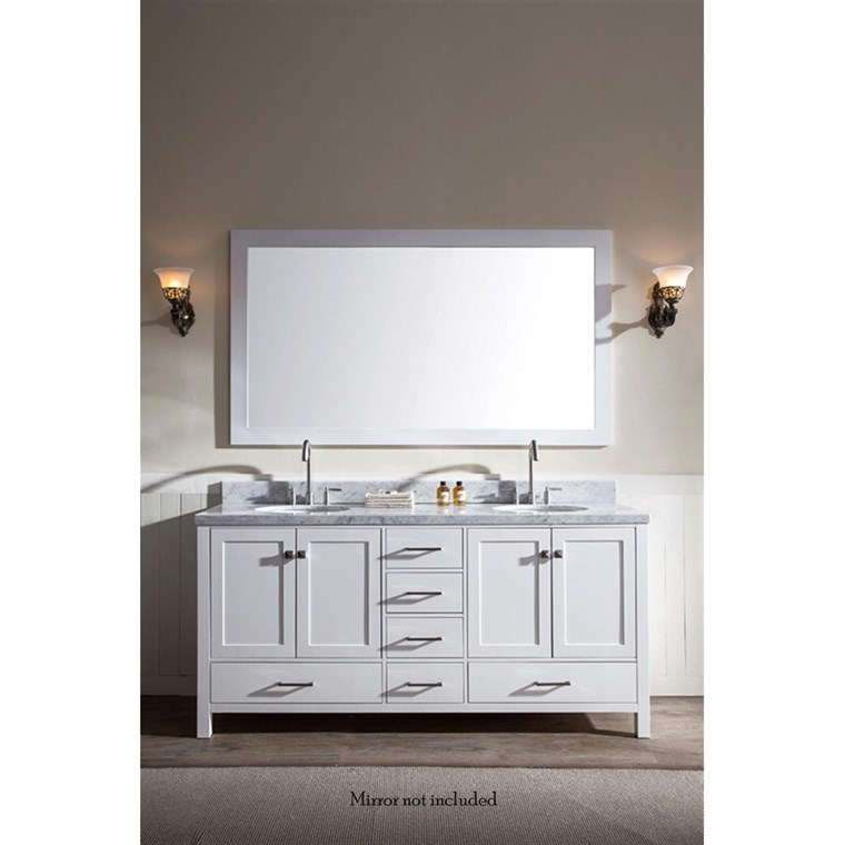 "Ariel Cambridge 73"" Double Sink Vanity with Carrara White Marble Countertop - White A073D-VO-WHT"