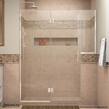 """DreamLine Unidoor-X 71"""" to 72-1/2""""W Hinged Shower Door with 24"""" Buttress Panel D71BUTTRESS by Bath Authority DreamLine"""