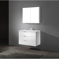 "Madeli Bolano 36"" Bathroom Vanity with Quartzstone Top - Glossy White Bolano-36-GW-Quartz"