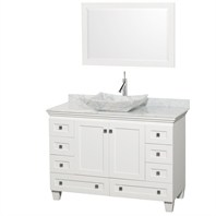 "Acclaim 48"" Single Bathroom Vanity Set with Vessel Sink by Wyndham Collection - White WC-CG8000-48-WHT-OM"