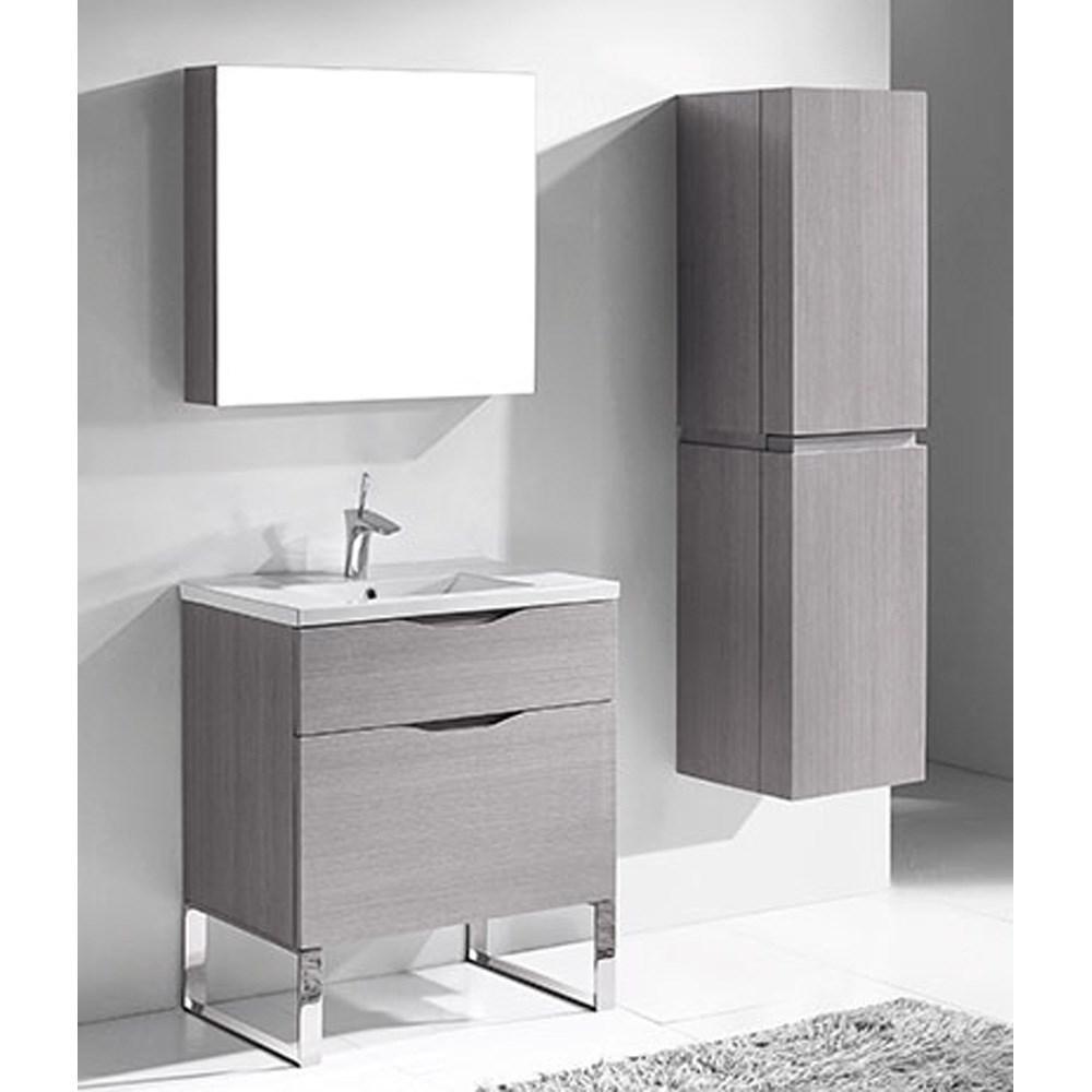 "Madeli Milano 30"" Bathroom Vanity for Integrated Basin - Ash Grey | Free Shipping - Modern Bathroom"