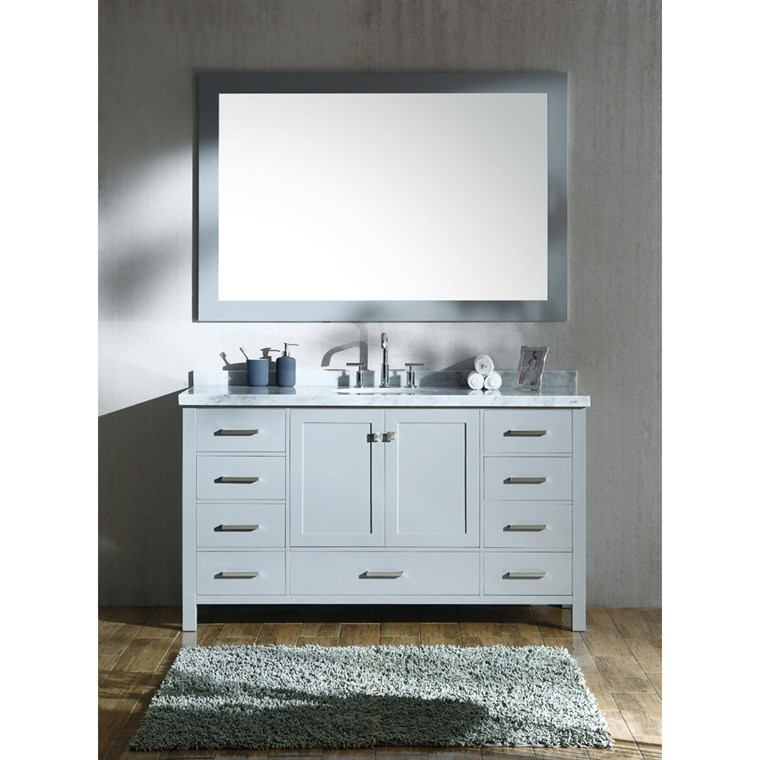 "Ariel Cambridge 61"" Single Sink Vanity Set with Carrara White Marble Countertop - Grey A061S-GRY"