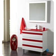 "Fresca Platinum Giocco 32"" Glossy White and Red Modern Bathroom Vanity FPVN7564WH-RD"