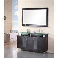 "Design Element Huntington 60"" Double Sink Vanity Set - Espresso DEC015D"