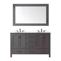 "Stufurhome 60"" Lissa Double Sink Bathroom Vanity - Gray GM-6412-60-GRAY"