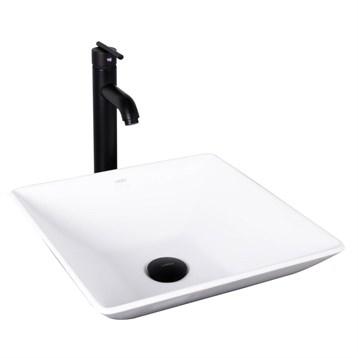 Vigo Matira Matte Stone Vessel Sink and Seville Bathroom Vessel Faucet in Matte Black VGT1017 by Vigo Industries