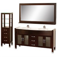 "Daytona 63"" Double Bathroom Vanity Set by Wyndham Collection - Espresso w/ Drawers & Cabinet WC-A-W2200-63-ESP-SET"