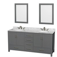 Sheffield 72 Double Bathroom Vanity by Wyndham Collection - Dark Gray WC-1414-