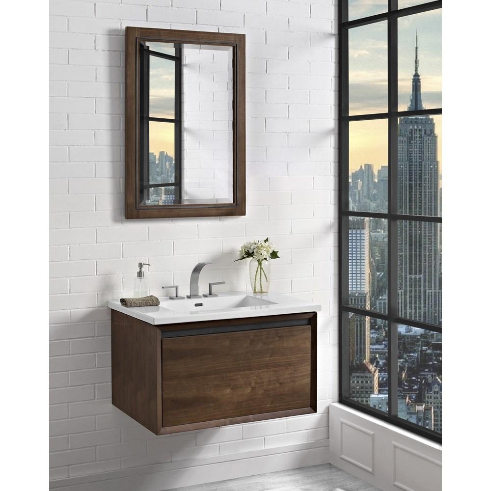 "Fairmont Designs M4 30"" Wall Mount Vanity for Integrated Sinktop - Natural Walnutnohtin Sale $983.00 SKU: 1505-WV30- :"