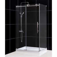"Bath Authority DreamLine Enigma-X Fully Frameless Sliding Shower Enclosure (34-1/2"" by 48-3/8"") SHEN-6134480"