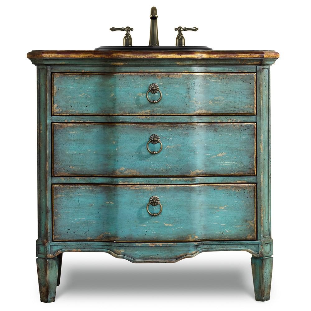 Cole Co 32 Designer Series Buckner Hall Chest Rustic Turquoise Finish Free Shipping Modern Bathroom