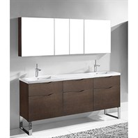 "Madeli Milano 72"" Double Bathroom Vanity for Integrated Basins - Walnut B200-72D-021-WA"