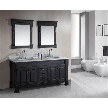 "Design Element Marcos 72"" Double Sink Vanity Set with Carrara White Marble Countertop, Espresso DEC081-WTP by Design Element"