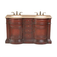 "Stufurhome 62"" Catherine Double Sink Vanity with Travertine Marble Top - Rich Cherry GM-3211-62-TR"