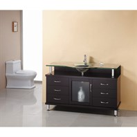 "Virtu USA Vincente 55"" Single Sink Bathroom Vanity - Espresso MS-55"
