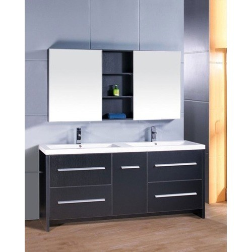 "Design Element Perfecta 72"" Double Sink Bathroom Vanity - Black DEC079B"