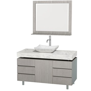 """Malibu 48"""" Bathroom Vanity Set by Wyndham Collection, Gray Oak Finish with White Carrera Marble Counter... by Wyndham Collection®"""