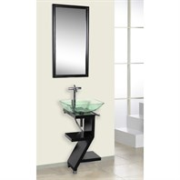 Bath Authority DreamLine Wood Base Petite Powder Room Vanity with Mirror and Sink - Black DL-8181M17-BK