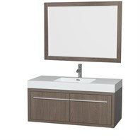 "Axa 48"" Wall-Mounted Bathroom Vanity Set With Integrated Sink by Wyndham Collection - Gray Oak WC-R4300-48-VAN-GRO"