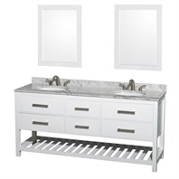 "Natalie 72"" Double Bathroom Vanity by Wyndham Collection - White WC-2111-72-DBL-VAN-WHT"