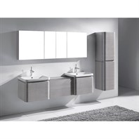 "Madeli Euro 72"" Double Bathroom Vanity with Integrated Basins - Ash Grey 2X-B930-24-002-AG, UC930-24-007-AG"