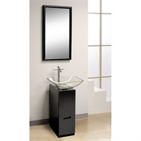 "Bath Authority DreamLine Modern 10"" Bathroom Vanity, Mirror and Sink - Black DL-8151M17-BK"