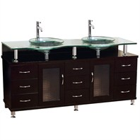 "Charlton 72"" Double Bathroom Vanity with Glass Countertop - Espresso w/ Clear or Frosted Glass Counter B701D-72-ESP"