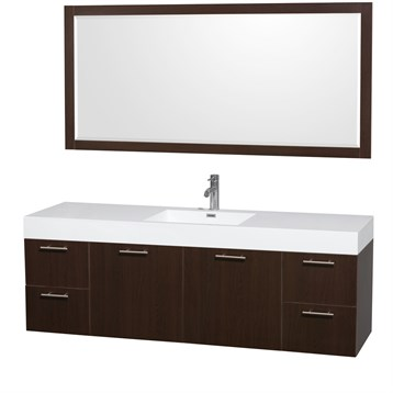 """Amare 72"""" Wall-Mounted Single Bathroom Vanity Set with Integrated Sink by Wyndham Collection, Espresso... by Wyndham Collection®"""