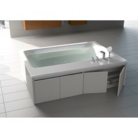 Aquatica Pool Duo-Wht Freestanding Lucite with Microban Acrylic Tub, Wood Panel Frame Bathtub - White Tub, White Panel Frame Aquatica Pool-Duo-Wht