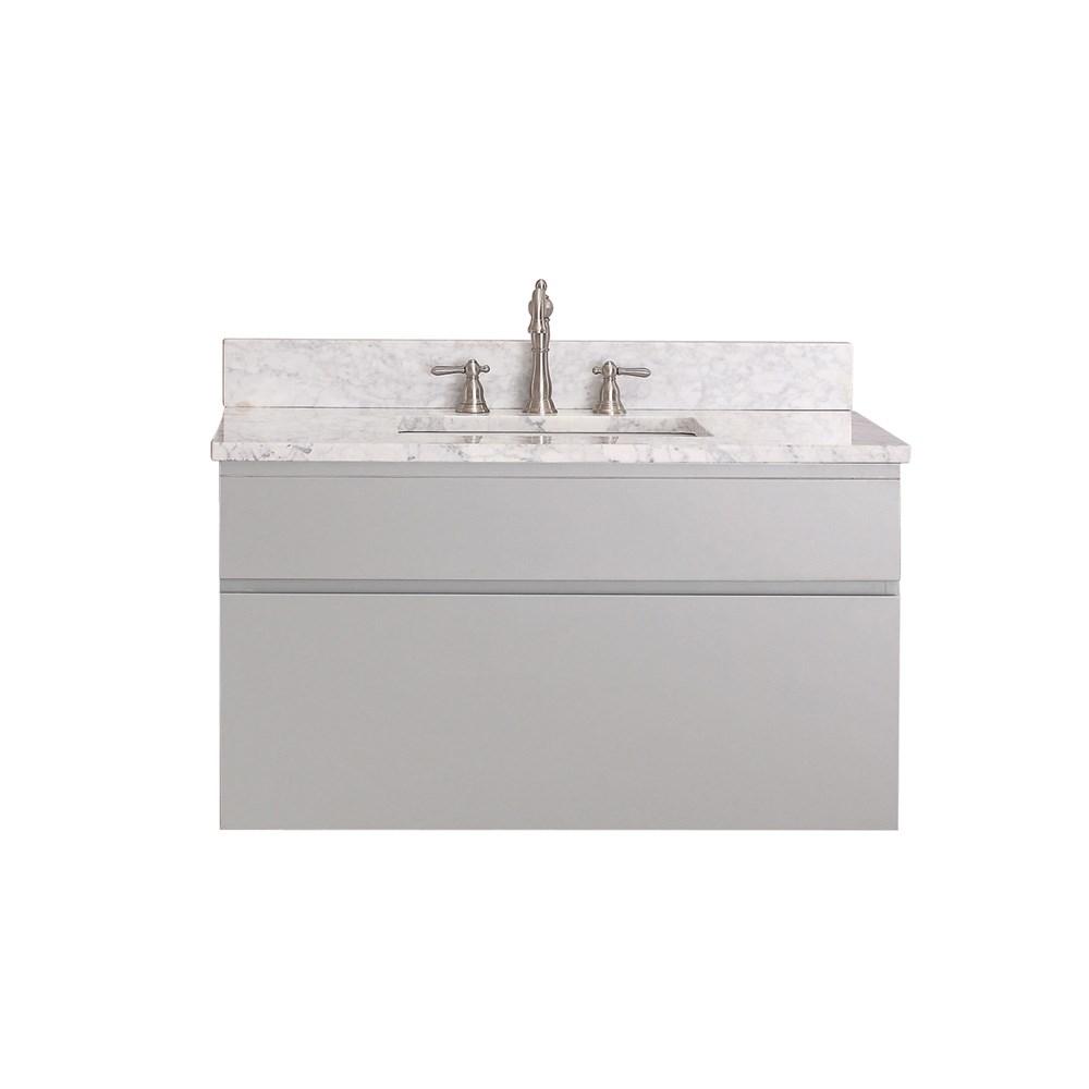 "Avanity Tribeca 36"" Wall Mounted Single Bathroom Vanity with Countertop - Chilled Graynohtin Sale $941.80 SKU: TRIBECA-36-CG :"