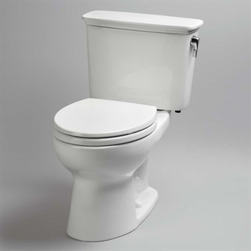 Toto Eco Drake Transitional Two-Piece Round Toilet, 1.28 GPF, Right Hand Trip Lever, Cotton White CST743ERN.01 by Toto