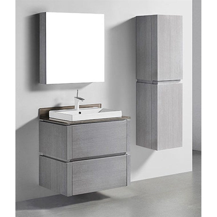 "Madeli Cube 30"" Wall-Mounted Bathroom Vanity for Glass Counter and Porcelain Basin - Ash Grey B500-30-002-AG-GLASS"