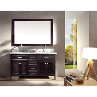 "Ariel Kensington 61"" Double Sink Vanity Set with Carrera White Marble Countertop - Espresso D061D-ESP"
