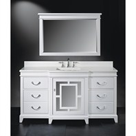 "Luxe Wallingford 66"" Single Bathroom Vanity - High Gloss White B7031BV66-PT59"