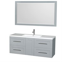 "Olivia 60"" Wall-Mounted Single Bathroom Vanity Set With Integrated Sink by Wyndham Collection - Dove Gray WC-R4500-60-VAN-DVG-SGL"