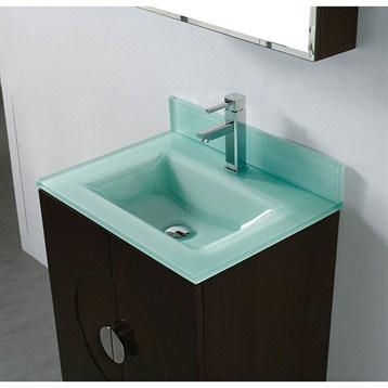 """Madeli Genova 24"""" Bathroom Vanity with Glass Basin, Walnut B922-24-001-WA-GLASS by Madeli"""