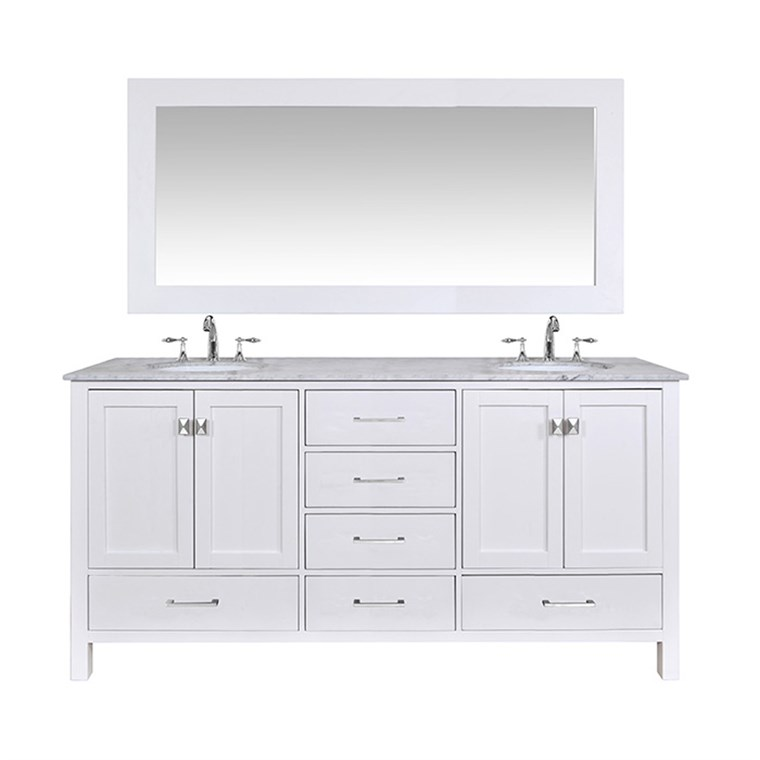 "Stufurhome 72"" Lissa Double Sink Bathroom Vanity - Pure White GM-6412-72-WHT"