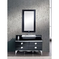 "Fresca Moselle 47"" Modern Glass Bathroom Vanity with Mirror FVN7714BL"