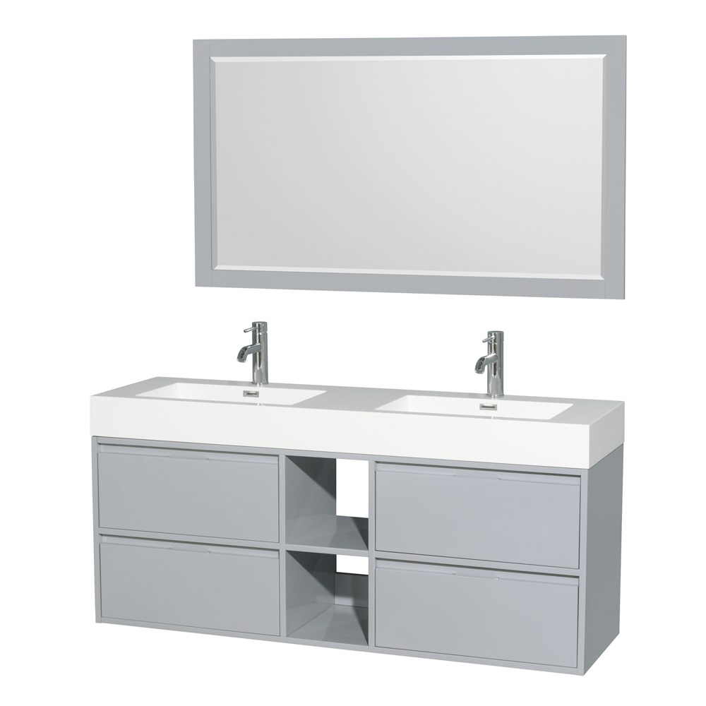 """Daniella 60"""" Wall-Mounted Double Bathroom Vanity Set With Integrated Sinks by Wyndham Collection - Dove Graynohtin Sale $1199.00 SKU: WC-R4600-60-VAN-DVG :"""