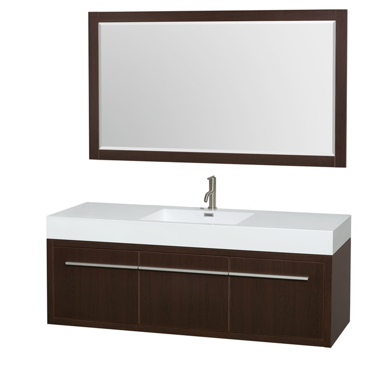 "Axa 60"" Wall-Mounted Single Bathroom Vanity Set With Integrated Sink by Wyndham Collection - Espresso WC-R4300-60-VAN-ESP-SGL"