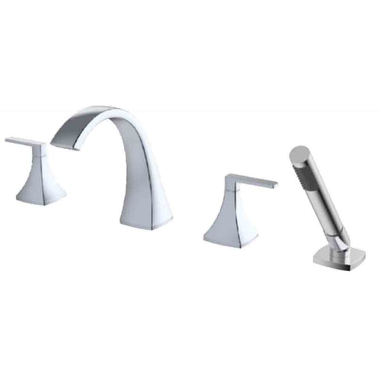 fluid Oceanside Dual Handle Widespread Deck-Mount Tub Filler Trim Set with Handshower F2313T-