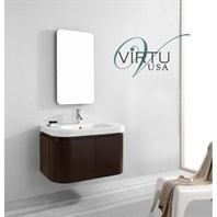 "Virtu USA Marvella 36"" Single Sink Bathroom Vanity Set - Walnut ES-1836-C-WA"