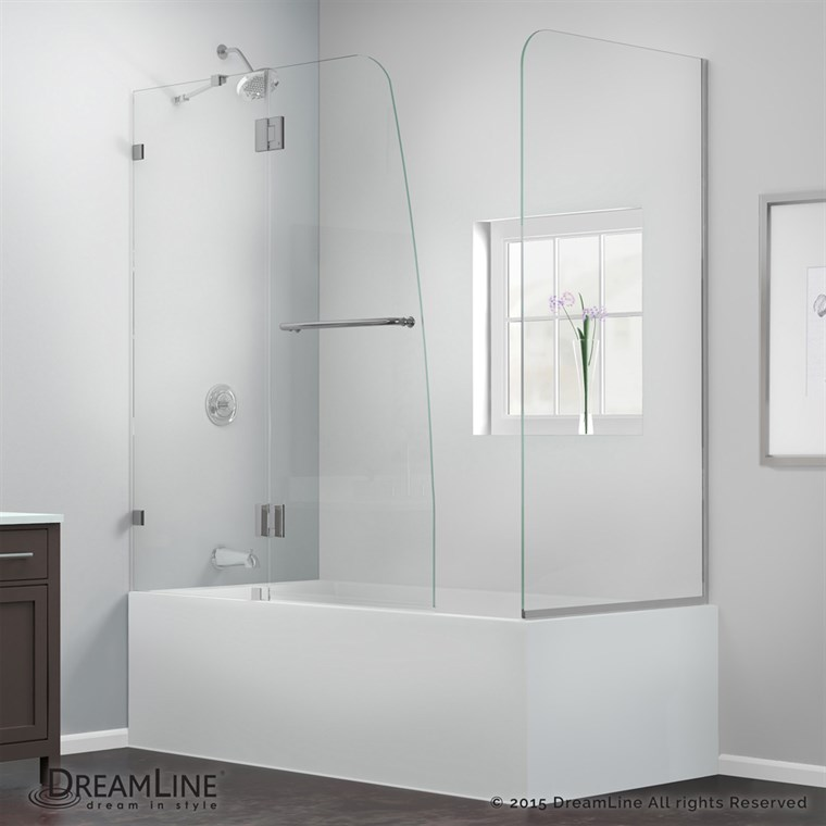 "Bath Authority DreamLine AquaLux Frameless Hinged Tub Door (56"" - 60"") with Return Panel SHDR-3348588-RT"