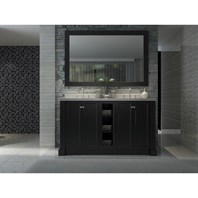 "Ariel Westwood 60"" Double Sink Vanity Set with Carrera White Marble Countertop - Black C060D-BLK"