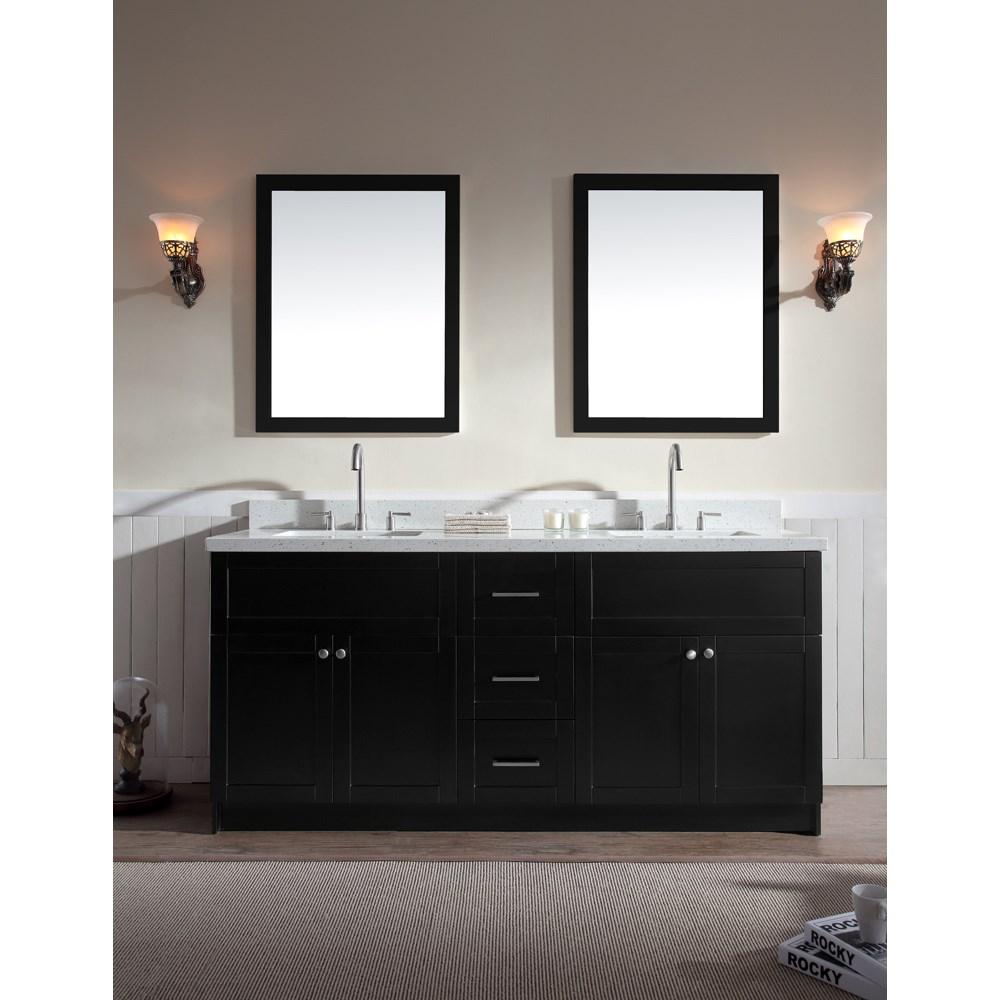 "Ariel Hamlet 73"" Double Sink Vanity Set with White Quartz Countertop in Blacknohtin Sale $1899.00 SKU: F073D-WQ-BLK :"