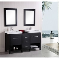 "Design Element New York 60"" Contemporary Bathroom Vanity - Espresso DEC091B"