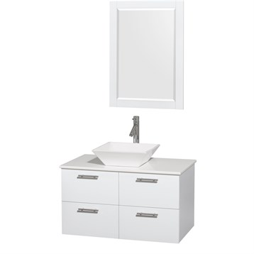 """Amare 36"""" Wall-Mounted Bathroom Vanity Set with Vessel Sink by Wyndham Collection, Glossy White WC-R4100-36-WHT by Wyndham Collection®"""